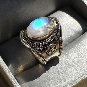 Huge Rainbow Moonstone Sterling Silver Ring